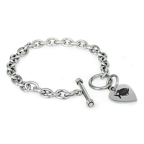Stainless Steel Piranha Heart Charm Toggle, Bracelet Only