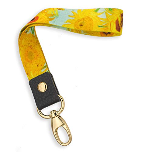 Fashion Camera Wristlet - SENLLY Van Gogh Sunflowers Hand Wrist Lanyard Premium Quality Wristlet Strap with Metal Clasp and Genuine Leather, for Key Chain, Camera, Cell Mobile Phone, Charms, Lightweight Items etc