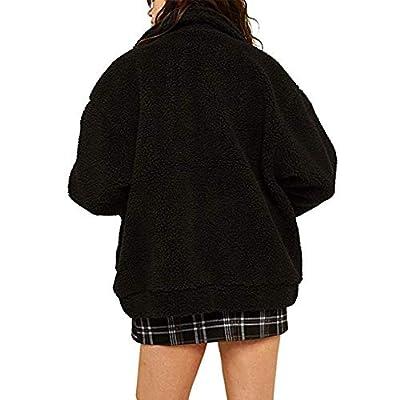 Women's Coat Casual Lapel Fleece Fuzzy Faux Shearling Zipper Coats Warm Winter Oversized Outwear Jackets at Women's Coats Shop