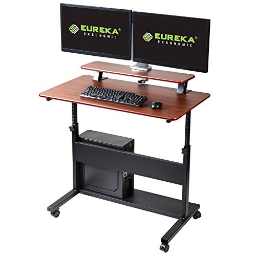 EUREKA ERGONOMIC Height Adjustable Standing Desk, Mobile Desk with Detachable Hutch 40