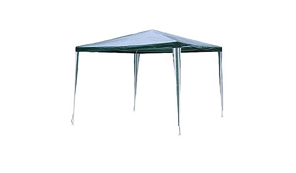 Linder Cenador de Metal 3 x 3 x 2, 4 m Verde/Blanco PE Jardín Cenador de Tienda Pavilion: Amazon.es: Jardín
