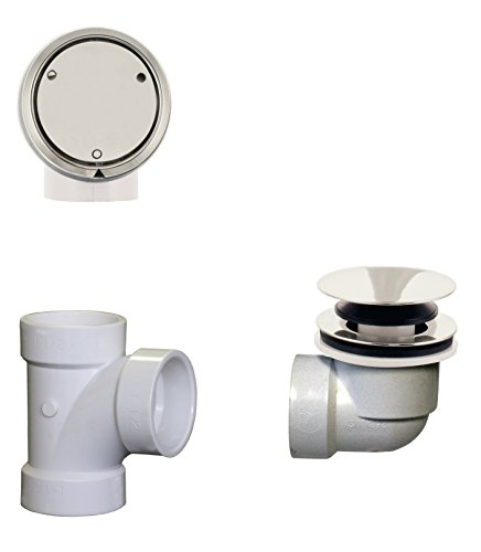Westbrass Deep Soak Closing Overflow Plumber's Pack with Sch. 40 PVC Elbows and Tee, with an ADA aprroved Tip-Toe Drain, Polished Nickel, D593CHPM-05