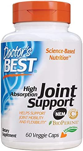 Doctor s Best High Absorption Joint Support with NEM, Curcumin C3 Complex and BioPerine, Non-GMO, Gluten Free, Soy Free, 60 Veggie Caps