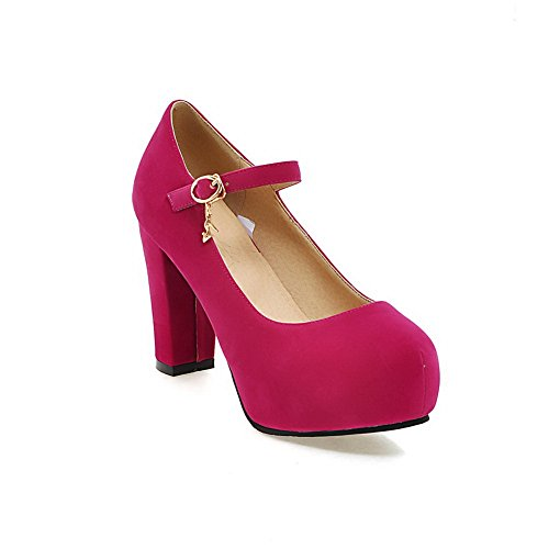Pumps Buckle Red Suede Platform BalaMasa Ladies Chunky Heels Shoes ASSOHqv