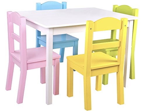 Pidoko Kids Wooden Table and Chairs Set | Includes 4 Chairs and 1 Art Craft Study and Activity Table for Children | Educational Furniture and Picnic Table with Chairs (White & Pastel) Childrens Furniture Table Chairs