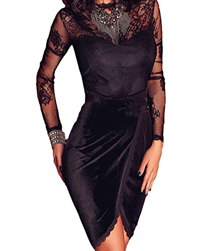 BYY Black Premium Lace Velvet Long Sleeve Wrap Dress(Size,M)