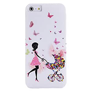 YULIN IMD Technique Hold Umbrella Girl and Butterfly Plastic Case for iPhone 5/5S