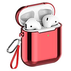 REFLYING Case Compatible for AirPods [1st and 2nd Gen], Soft TPU Plated Case Shockproof Protective Cover Compatible with Apple AirPods & AirPods 2019 [Front LED Visible] - Red