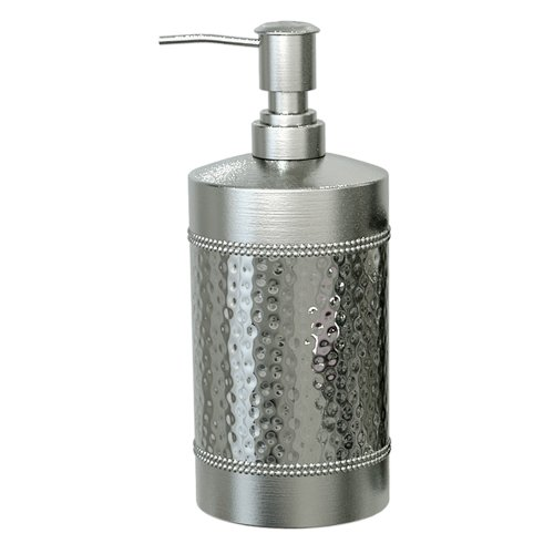 nu steel HS6H Hudson Collection Liquid Soap & Lotion Dispenser Pump for Bathroom or Kitchen Countertops, Hammered Shiny Finish, Small, (Countertop Hudson)