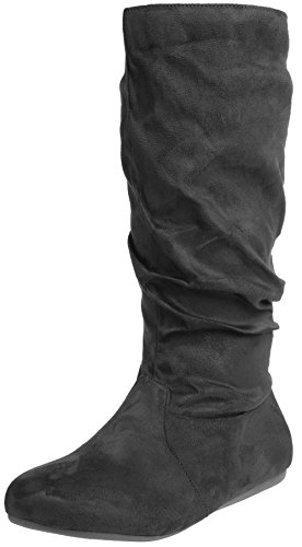 Flat Winter Boot Women's Calf Casual Fashion Enimay Dress Mid Black High Slouchy v0qap5w