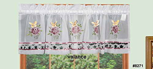 Creative Linens 3-D Butterfly Floral Kitchen Curtain Valance White Window Treatment