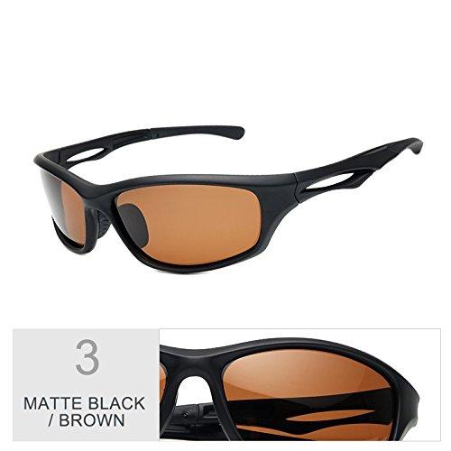 Polarizadas Black Sol Brown Color De Negra Gafas Mate TIANLIANG04 Deportes Gafas Matte Gafas Uv400 Hombres Deportes Sol De Guía Visión La De Noche Hombres Para De Nocturna Para De TpTItvnq