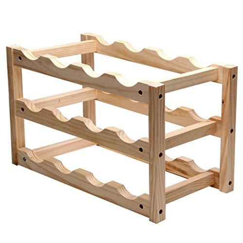 10/12 Wine Bottle Holder Wooden Red Wine Rack Mount Bar Display Shelf Folding Wine ()