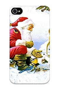MOkxD0xlTDS Premium Santa With Animals Postcard Back Cover Snap On Case For Iphone 4/4s