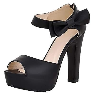 KemeKiss Women Fashion Block High Heels Platform Sandals with Bow (34 EU, Black)