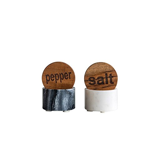 (Round Marble Salt & Pepper Pot w/Wood Lid, Black & White)