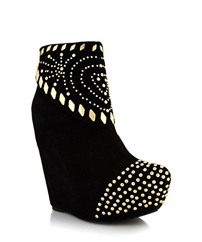 STUNNING LADIES JEFFREY CAMPBELL ZION BLACK / GOLD STUDDED WEDGE ANKLE BOOTS UK 4 - 7