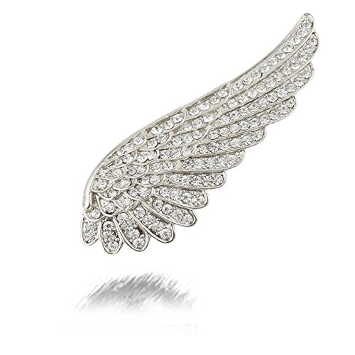 MUZHE Flying Angel Wing Shiny Crystal Brooch Pin for Coat Sweater (Silver)