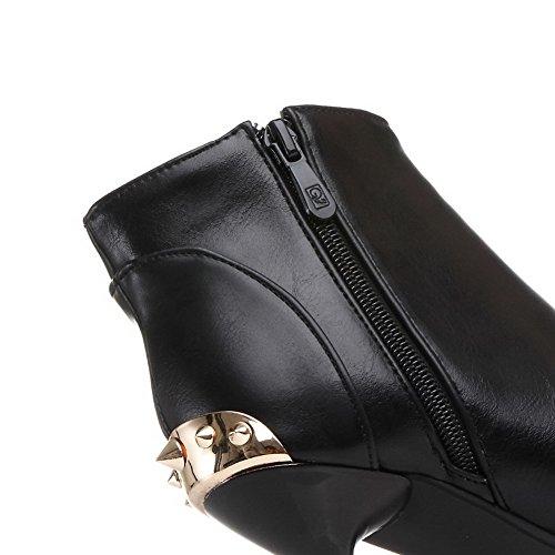 AgooLar Damen Hoher Absatz Weiches Material Knöchel Hohe Rein Stiefel mit Metallisch Schwarz
