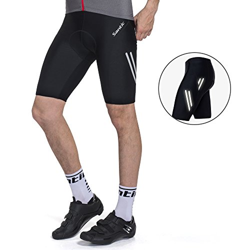 SANTIC Men's Cycling Shorts Padded Bike Shorts Bicycle Lycra Shorts Black