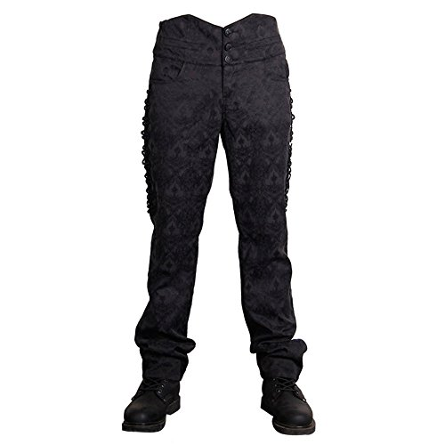 Katoot@ Mens England Style Gothic Punk Fashion Polyester Pants Buckles Hip Hop Trousers Male Casual Long Pants (XL, Black) by Katoot