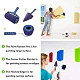 MSDADA Paint Roller Brush Kit,Paint Roller Brush Tools Set with New Telescopic Rod, Paint Runner Pro,Wall Printing Brush,Smart Paint Roller Applicator for Painting Walls and Ceilings(Blue)