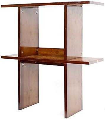 QIANGDA Desktop Bookshelf Desk Bookcase Bamboo Dark Brown Little Book Cabinet Storage Display Shelving 2 Size 80 X 20cm