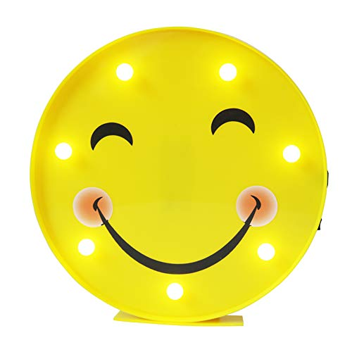 DELICORE Marquee Emoji Sign Funny LED Table Lamps Night Lights for Children Kids Bedroom Wall Decor Battery Operated & USB Charging (Smile Face)