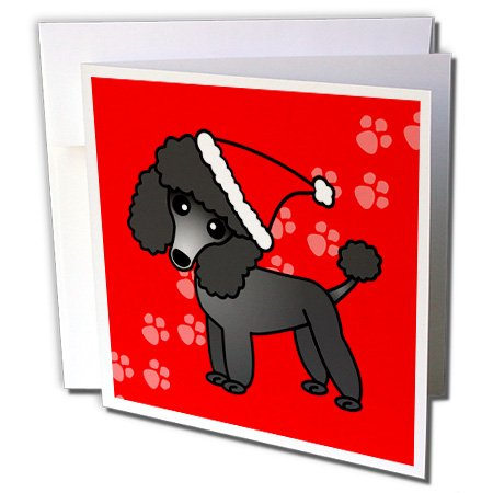 Cute Black Poodle Red Paw Background with Santa Hat - Greeting Card, 6 x 6 inches, single (Red Poodle)