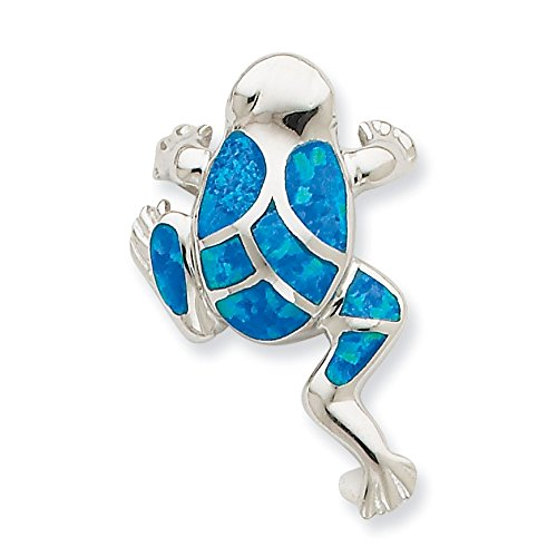 .925 Sterling Silver Created Blue Opal Inlay Frog Slide Pendant