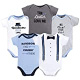 Hudson Baby Unisex Baby Cotton Bodysuits, Handsome Fella 5 Pack, 3-6 Months (6M): more info