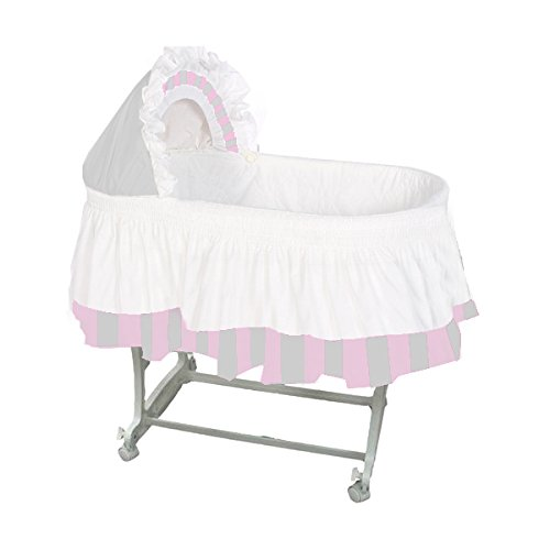 aBaby Color Block Bassinet Skirt, Grey/Pink/White, Large