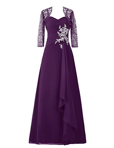 Grape Jacket Of D Gowns With Mother H Bride Prom Lace Long S The Dresses Applique x6SnwqCf
