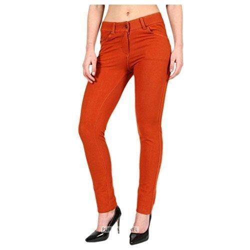 FASHIONCHIC Femmes uni lastique coupe slim skinny Curvy habill color fermeture clair pantalon jeggings grande taille 8-26 18 couleurs disponible Rouille