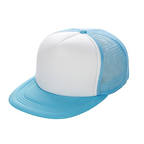 Opromo Two Tone Flat Bill Mesh Trucker Cap, Summer Cap with Adjustable Snapback Strap LIGHTBLUEWHITE-48PCS by Opromo