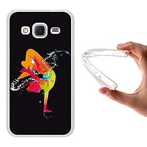 Funda Samsung Galaxy Core Prime, WoowCase [ Samsung Galaxy Core Prime ] Funda Silicona Gel Flexible Chico Bailando con Manchas 2, Carcasa Case TPU Silicona - Transparente
