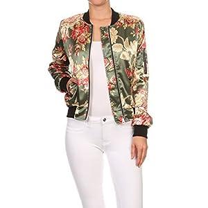 makeitmint Women's Stylish Zip Up Floral Pattern Bomber Flight Jacket SMALL YJZ0028_28OLIVE