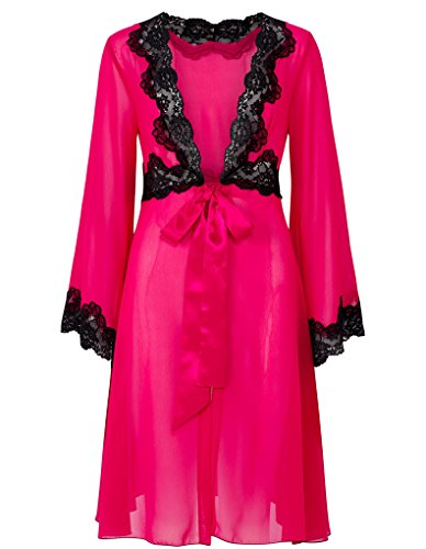 Slenderella Gaspe Raspberry Pink 36″ Satin Chemise With Chiffon Robe Set GL6740