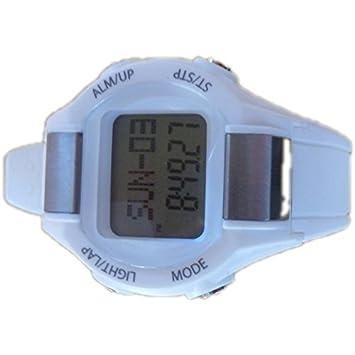 Multifunción reloj de la aptitud de pulso podómetro cronómetro reloj blanco