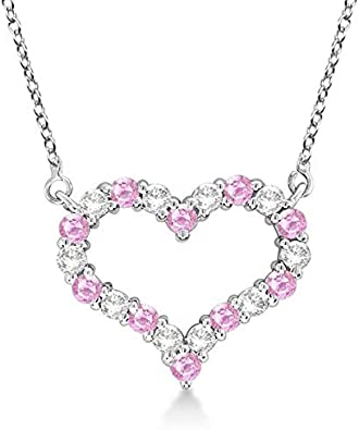 Collar con colgante de zafiro rosado y diamantes de corazón abierto. Oro blanco de 14 k, collar de corazón de diamantes de oro macizo - corazón MEDIO. Joyería del Día de San Valentín