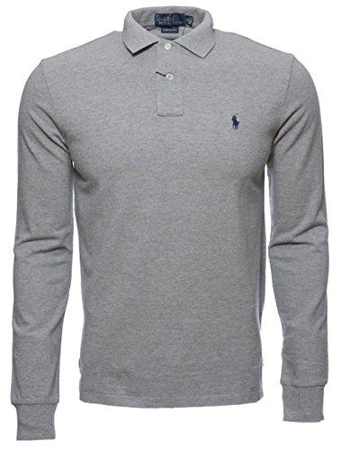 Polo Ralph Lauren Mens Custom Fit Mesh Long Sleeve Polo Shirt (Large, Gray)