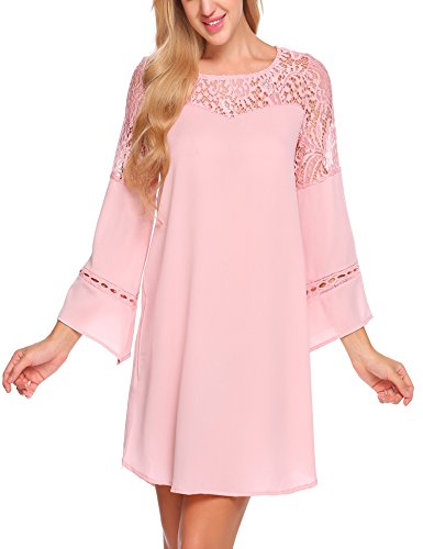 Lace Dress Sleeve 4 Patchwork Loose Pink Women's Chiffon ACEVOG Casual Summer 3 wgqC7x4B