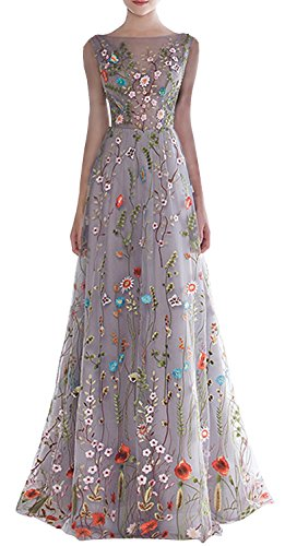 Embroidered Long Dress - YSMei Women's Floral Embroidery Prom Dress Long Sleeveless Lace Party Gown Gray Blue 2