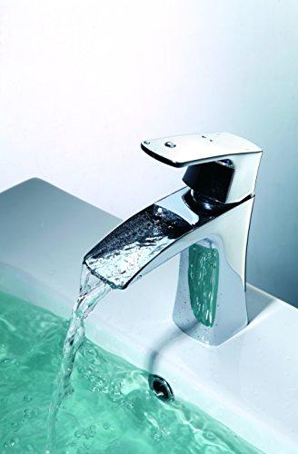 Single Hole Waterfall - Waterfall Single Handle Bathroom Sink Faucet Single Hole For Vanity One Hole Mounted Lavatory,Chrome