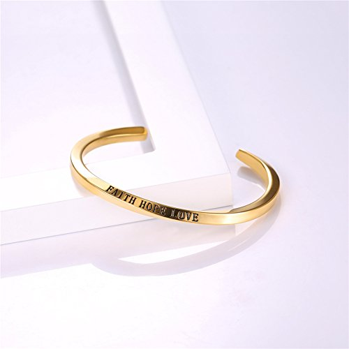 U7 FAITH HOPE LOVE Engraved Bangle Inspirtional Jewelry 18K Gold Plated Plated Twisted Cuff Bracelet by U7 (Image #6)