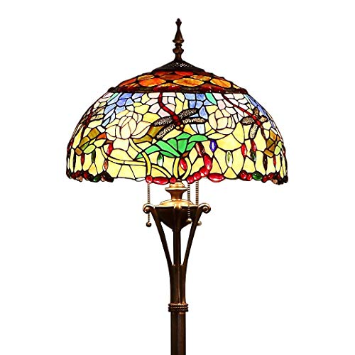 Bieye L10577 18-inches Dragonfly and Flowers Tiffany Style Stained Glass Floor Lamp
