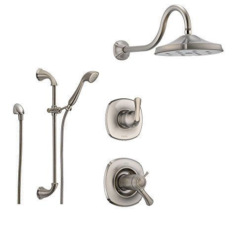 Delta Addison Stainless Steel Shower System with Thermostatic Shower Handle, 3-setting Diverter, Showerhead, and Handheld Shower SS17T9284SS Delta Faucets