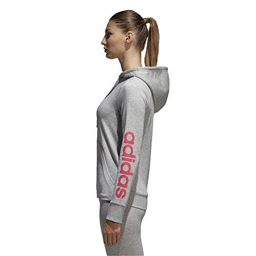 adidas Women's Essentials Linear Full Zip Fleece Hoodie, Medium Grey Heather/Real Pink, X-Small by adidas (Image #2)