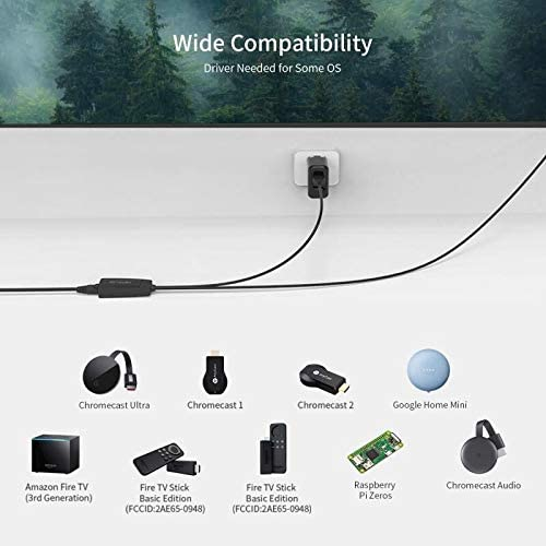 Google Home Mini and More Streaming Sticks Fire Stick Ethernet Adapter Bstxwen Fire TV Ethernet Adapte Micro USB to RJ45 Ethernet Network Adapter for Fire TV Stick Chromecast