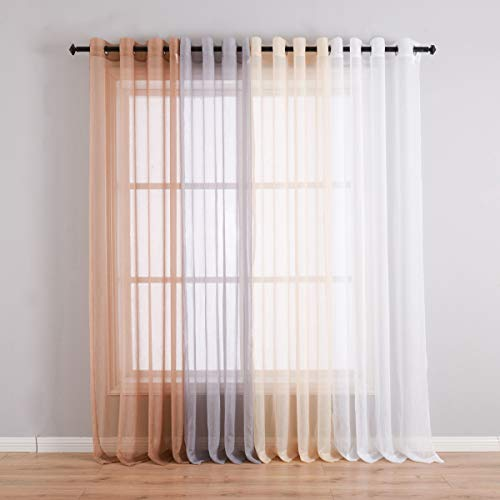 High Thread Crushed Sheer Voile Drapes with Ring Top 2 Panels Sheer for Sliding Patio Door/Dorm/Office Durable Home Decoration Privacy Protected Drapes(52